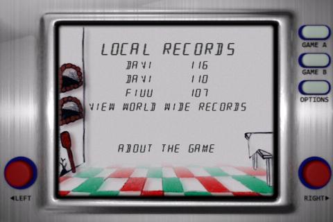 Récords locales conseguidos en el juego / app Pizzas para iPhone